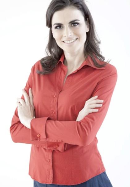 Manschetten Bluse Damen rot